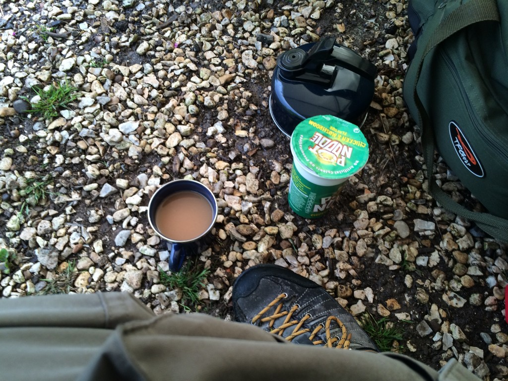 I hid under the brolly, drank tea and had some food while waiting for the rain to stop.